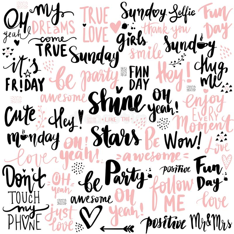 Big vector set of motivation and inspirational quotes. Positive phrases to poster, greeting card, t-shirt and prints. Lettering photography overlay. Hand royalty free illustration