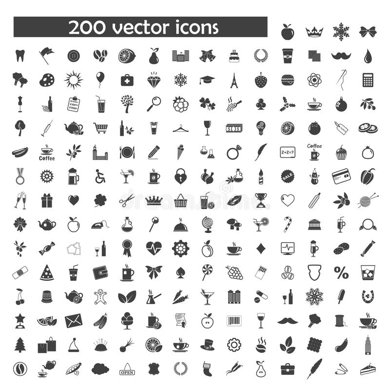 Big vector set of 200 object icons vector illustration