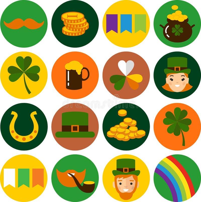 Big vector set of Saint Patricks Day icons stock illustration