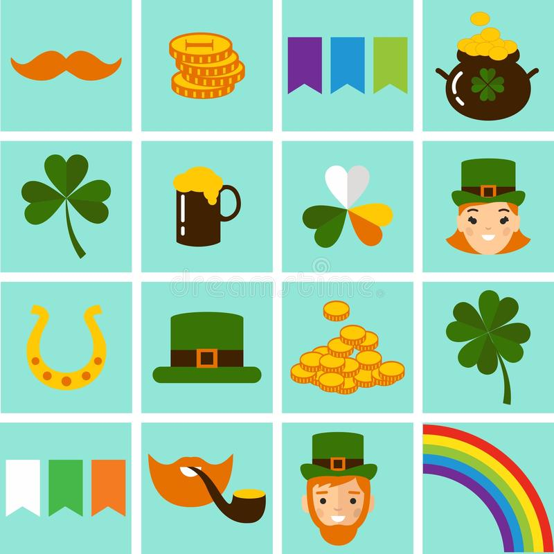 Big vector set of Saint Patricks Day icons. vector illustration