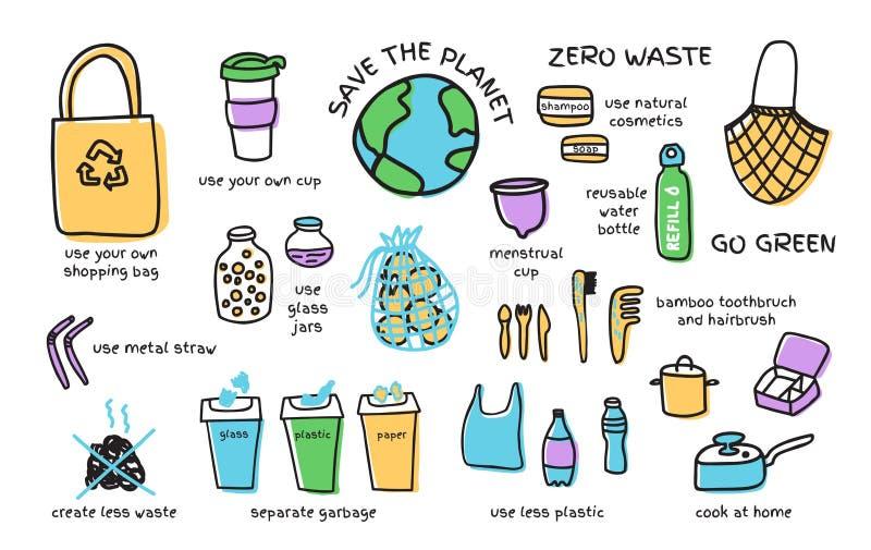 Big vector set of zero waste elements. Set zero waste elements fabric bags, glass jars, menstrual cup. Eco lifestyle concept, vector doodle design stock illustration