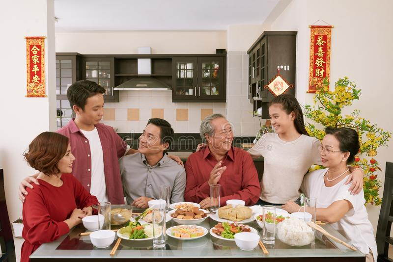 Big family celebrating Tet stock photos