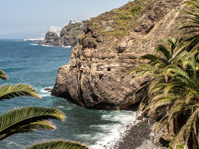 Big view of the coast with beach at the sea stock photo