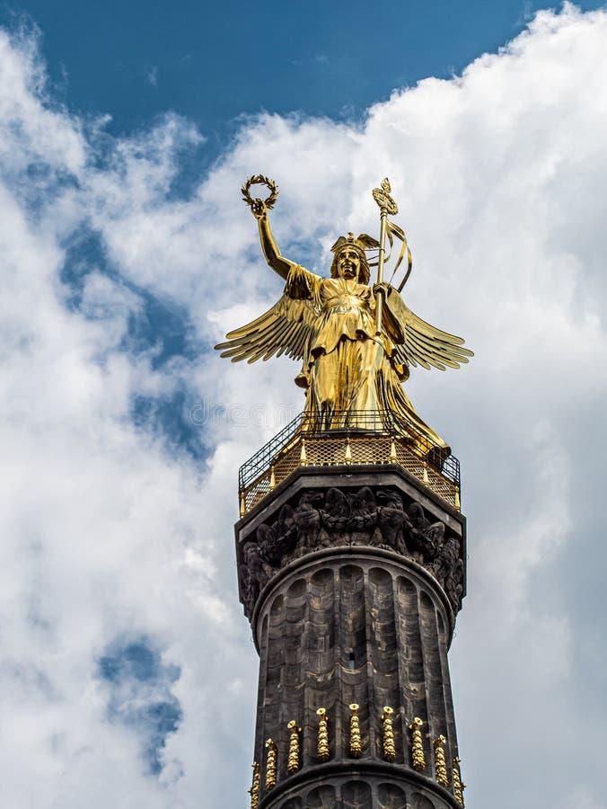 Big view of the golden angel of the Berlin Victory Column. A big view of the golden angel of the Berlin Victory Column royalty free stock images