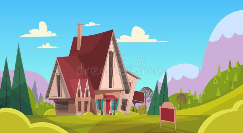Big Village House Summer Landscape Green Grass Blue Sky Mountain Background stock illustration