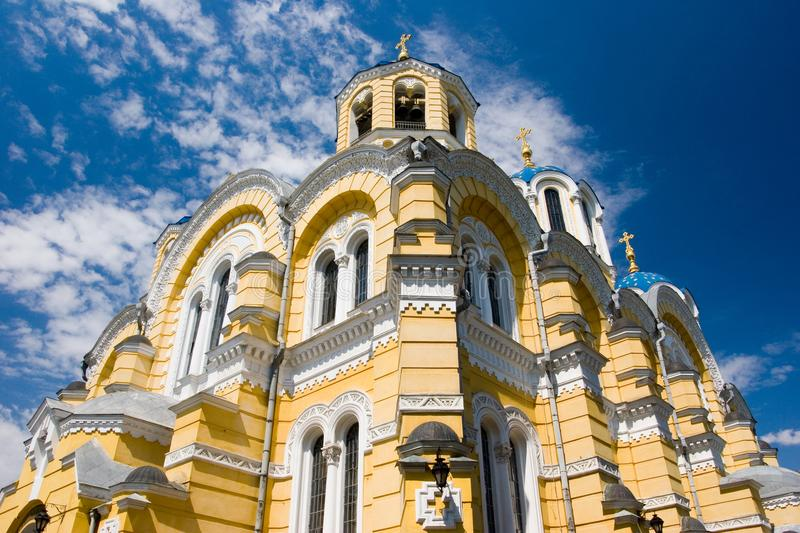 Big Vladimir Cathedral in Kyiv - one of the city`s major landmarks and the mother cathedral of the Ukrainian Orthodox Church - Ki. Ev Patriarchy, ukraine royalty free stock photos