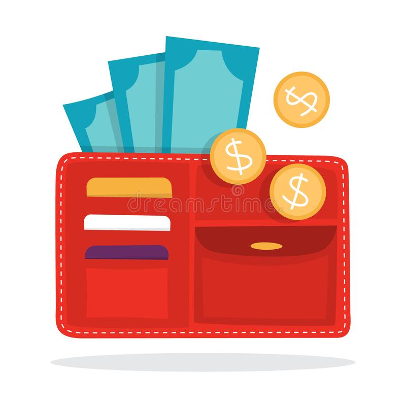 Big wallet with the currency. Idea of personal finance. Money inside, coin and banknote. Earnings and budget metaphor. Flat vector illustration royalty free illustration