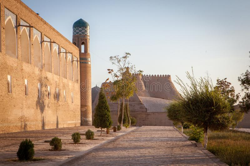 Big walls of ancient Khiva City stock photography