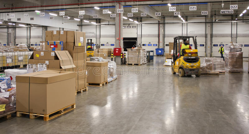 In the big warehouse royalty free stock photo