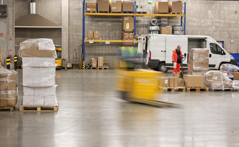 In the big warehouse royalty free stock photos