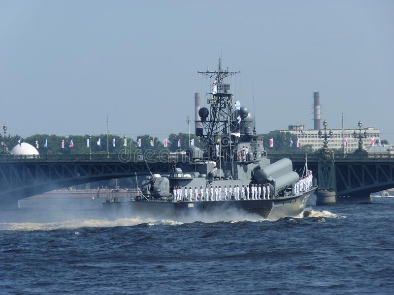 Big warship on the Sea Parade in Saint-Petersburg stock image