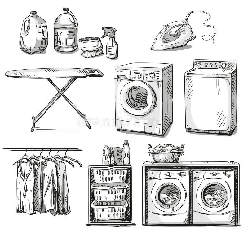 Big wash. Laundry objects. Vector sketch. Big wash, laundry objects. Vector sketch. EPS 10 royalty free illustration
