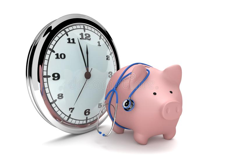 Clock Piggy Bank Stethoscope. Big watch with pink piggy bank and blue stethoscope royalty free illustration