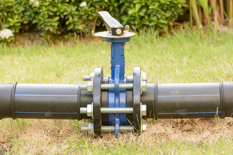 Big water pipe with valve. stock photo