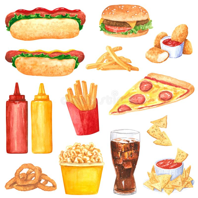 Big watercolor fastfood clipart set royalty free illustration