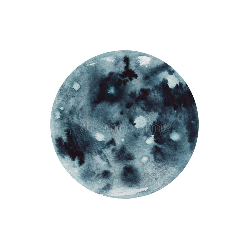 Big watercolor moon illustration. Symbol of new beginning, dreaming, romance, fantasy, magic. Black, grey colors, circle, full vie vector illustration