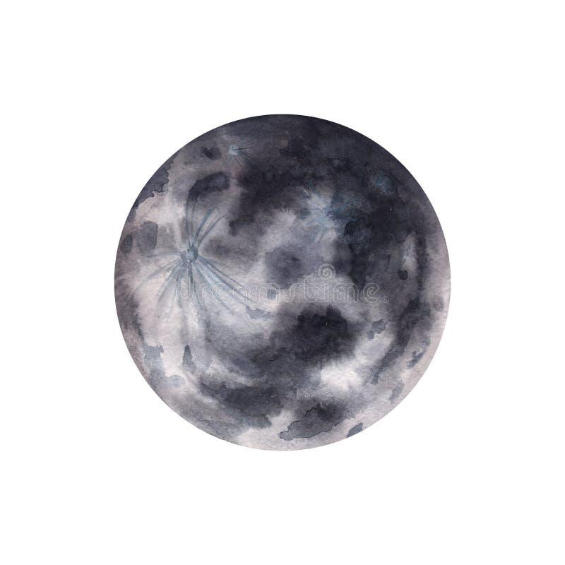 Big watercolor moon illustration. Symbol of new beginning, dreaming, romance, fantasy, magic. Black, grey colors, circle, full vie. W. Hand drawn water colour vector illustration