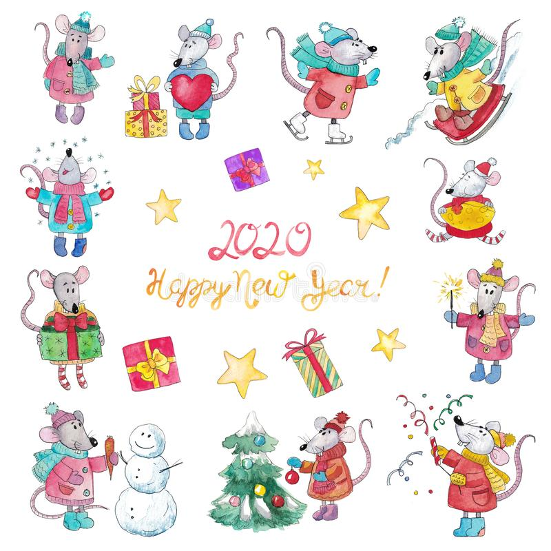 Big watercolor set of Christmas rats stock photos