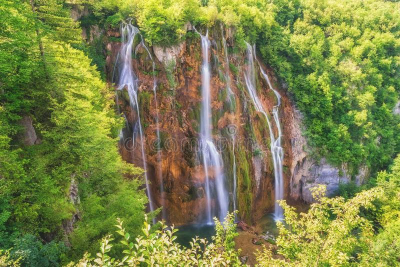 Big waterfall at Plitvice Lakes National Park royalty free stock photography