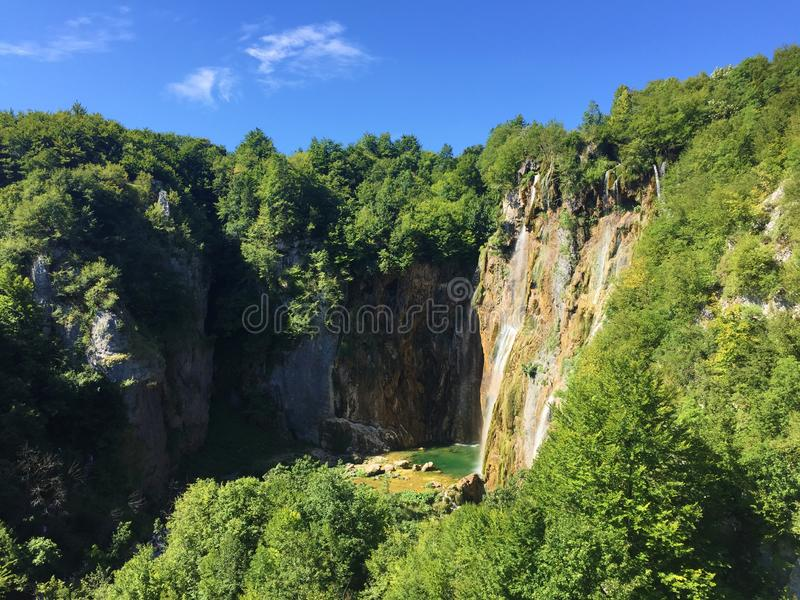 Big waterfall Veliki slap or Slap Plitvica, Plitvice Lakes National Park or nacionalni park Plitvicka jezera, UNESCO royalty free stock image