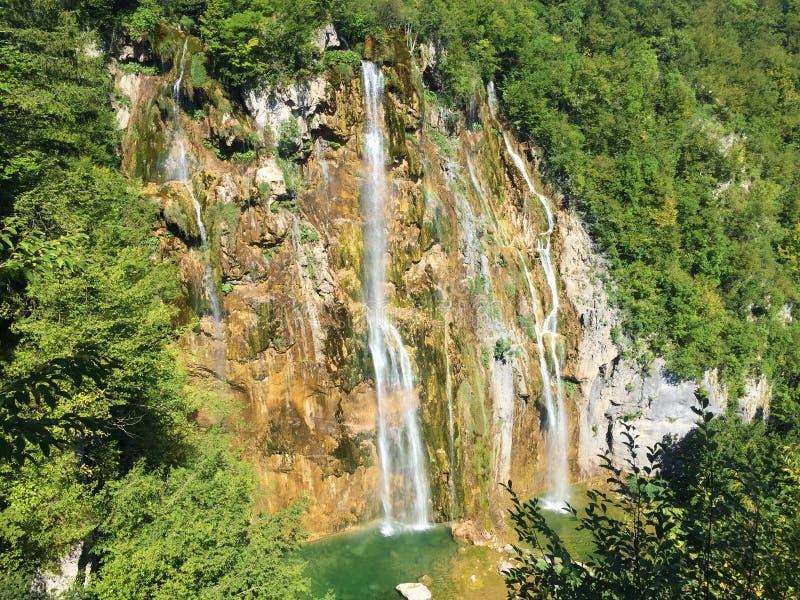Big waterfall Veliki slap or Slap Plitvica, Plitvice Lakes National Park or nacionalni park Plitvicka jezera, UNESCO royalty free stock photography