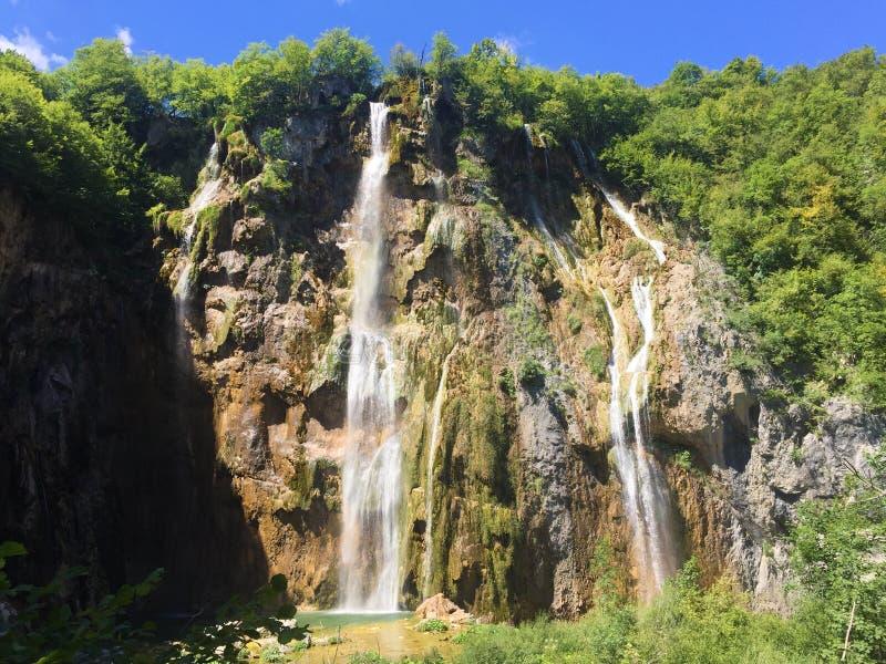 Big waterfall Veliki slap or Slap Plitvica, Plitvice Lakes National Park or nacionalni park Plitvicka jezera, UNESCO stock photo