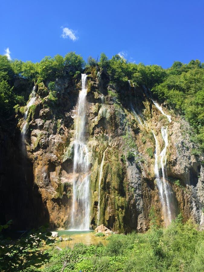 Big waterfall Veliki slap or Slap Plitvica, Plitvice Lakes National Park or nacionalni park Plitvicka jezera, UNESCO royalty free stock images