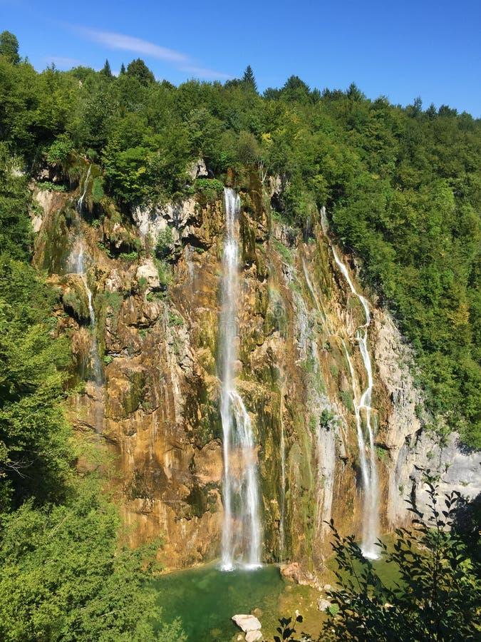 Big waterfall Veliki slap or Slap Plitvica, Plitvice Lakes National Park or nacionalni park Plitvicka jezera, UNESCO stock image