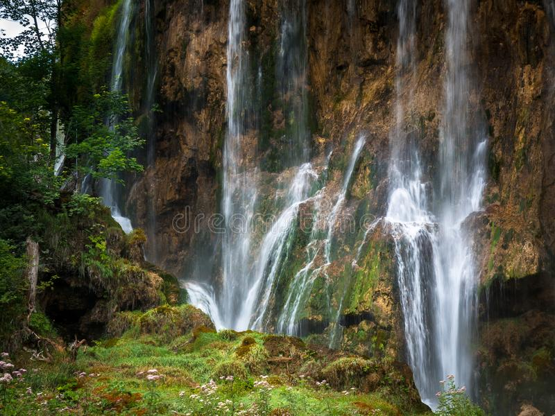 Big Waterfalls, Plitvice Lakes, National Park, Forest, Croatia. Waterfalls in National park of Plitvice Lakes situated in Northern Croatia. Picture was taken stock photos