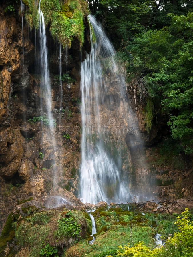 Big Waterfalls, Plitvice Lakes, National Park, Forest, Croatia. Waterfalls in National park of Plitvice Lakes situated in Northern Croatia. Picture was taken stock photography