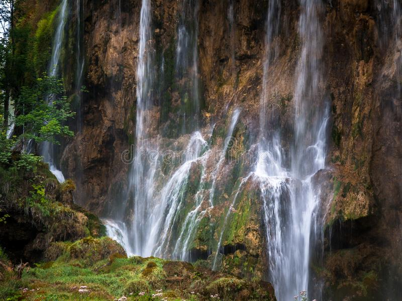 Big Waterfalls, Plitvice Lakes, National Park, Forest, Croatia. Waterfalls in National park of Plitvice Lakes situated in Northern Croatia. Picture was taken stock photo