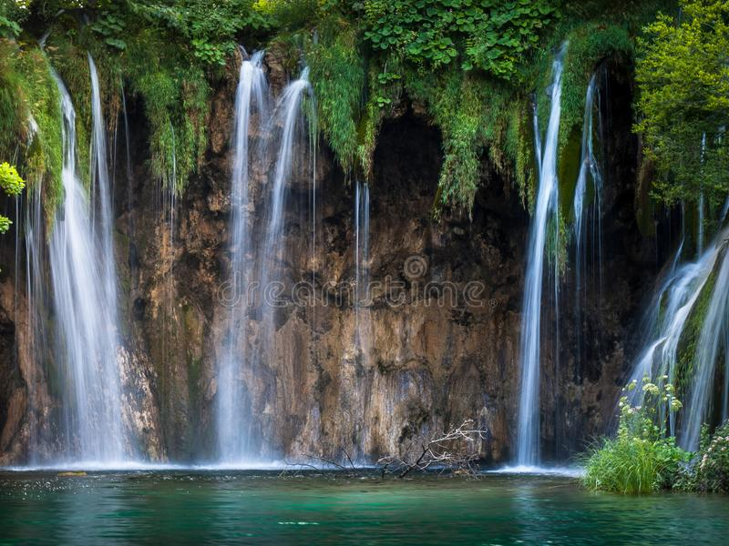 Big Waterfalls, Plitvice Lakes, National Park, Forest, Croatia. Waterfalls in National park of Plitvice Lakes situated in Northern Croatia. Picture was taken stock images