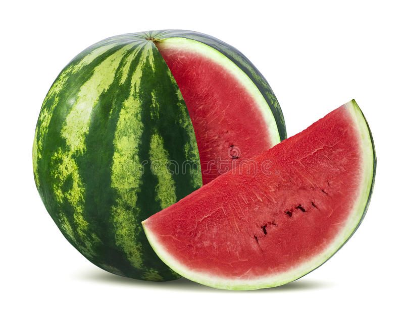 Big watermelon and slice on white background stock photo