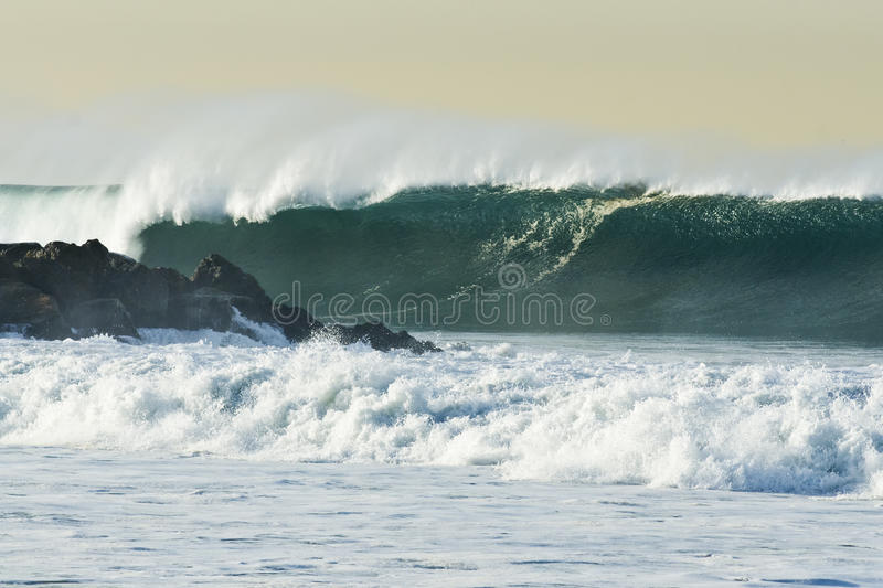 Big Wave Breaking outside the El Port Jetty royalty free stock photos
