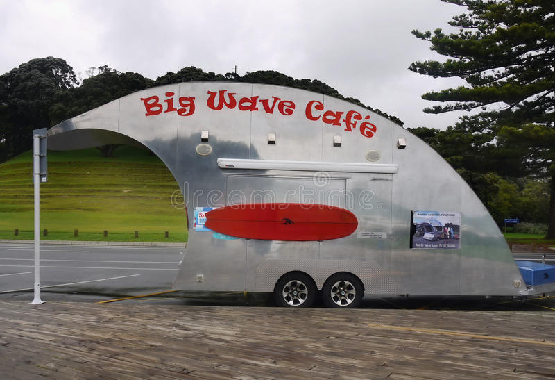Big Wave Cafe, Tauranga, New Zealand. Big Wave Cafe stand, Pilot Bay beach - Tauranga, New Zealand stock image