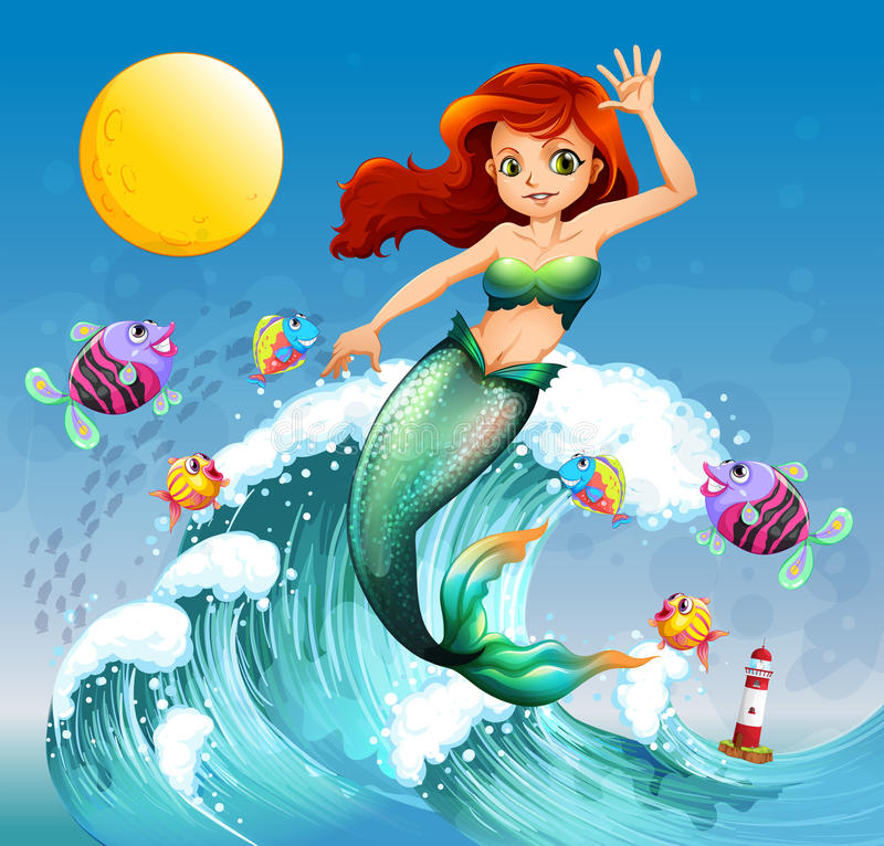 A big wave with a mermaid and a school of fishes royalty free illustration