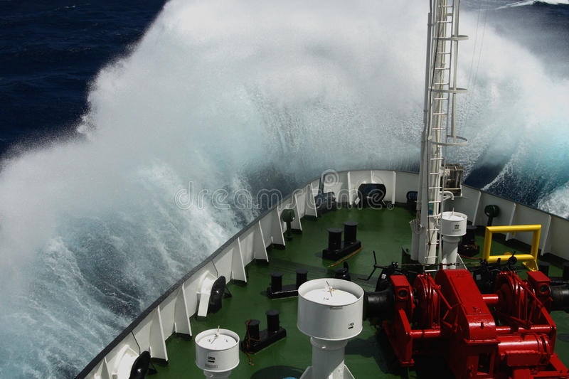 Download Big Wave Rolling Over The Snout Of The Ship Stock Photo - Image: 31353842