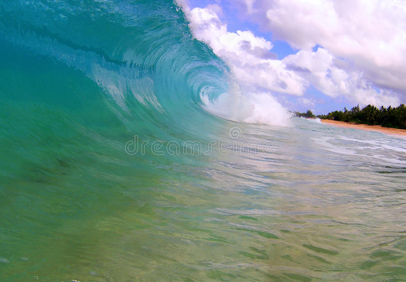 Big Wave on a Tropical Beach in Hawaii. A breaking wave on the north shore of the island of Oahu, Hawaii royalty free stock photography
