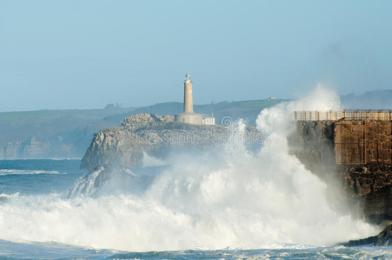 Download Big Waves Against The Rocks. Santander Lighthouse, Cantabria, Spain Stock Image - Image: 41135091