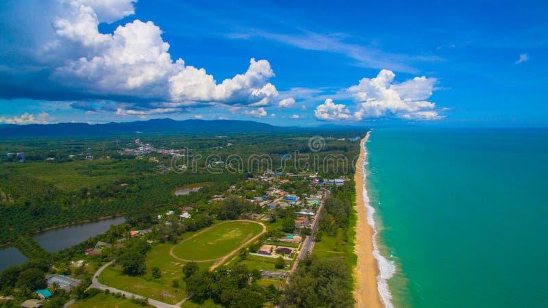 Aerial view big waves from Andaman sea hit on long beach at Tay Muang in Phang Nga province. Big waves from Andaman sea hit on long beach at Tay Muang in Phang stock photography
