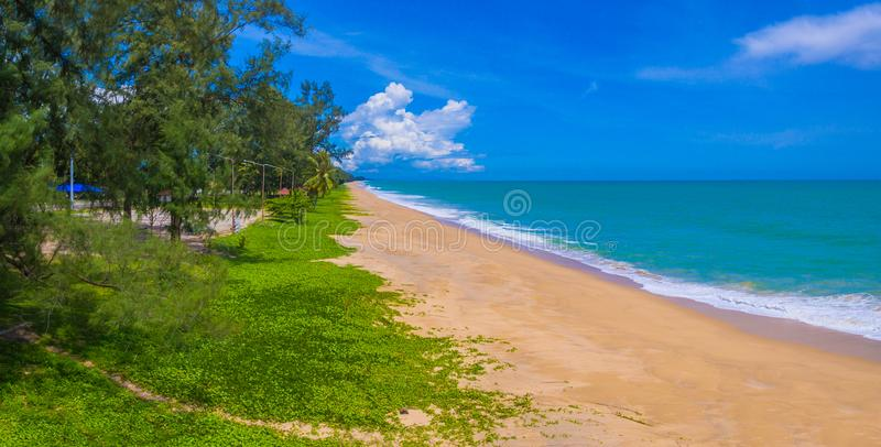 Aerial view big waves from Andaman sea hit on long beach at Tay Muang in Phang Nga province. Big waves from Andaman sea hit on long beach at Tay Muang in Phang royalty free stock photo