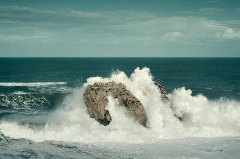 Download Big Waves Breaking Against The Rocks, Urros, Cantabria Stock Image - Image: 37638569