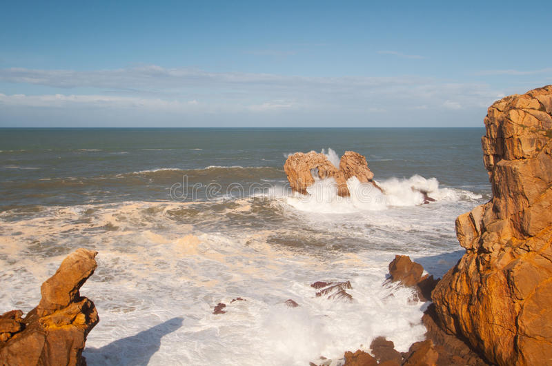 Big waves breaking against the rocks, Urros, Cantabria