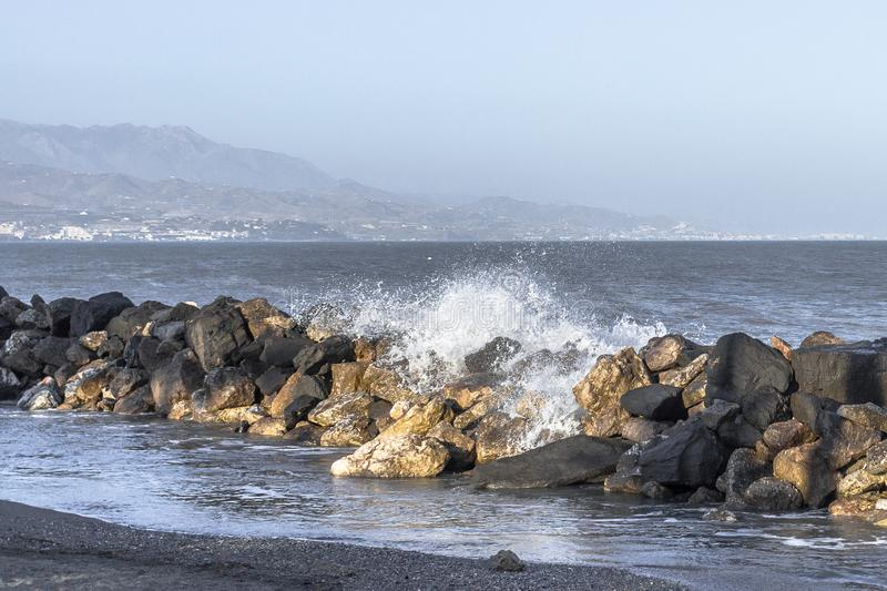 Big waves on the coast of Spain royalty free stock photo