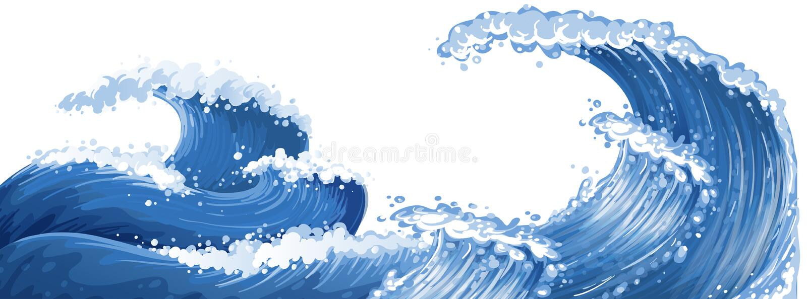 Big waves in the ocean royalty free illustration