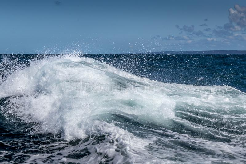 Big waves and rough water on the ocean stock photography