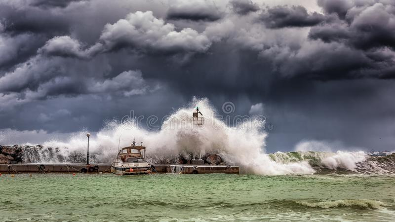 Big Waves Under Cloudy Sky royalty free stock photo