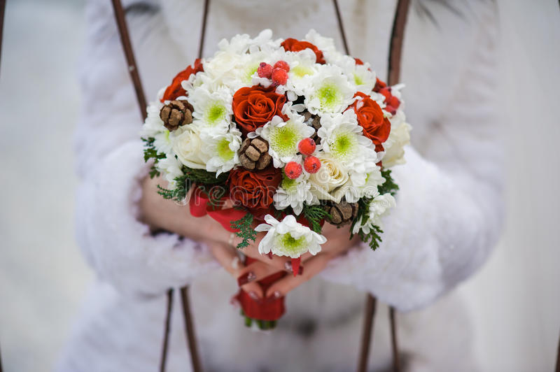 Big wedding bouquet. Before wedding ceremony in church royalty free stock images