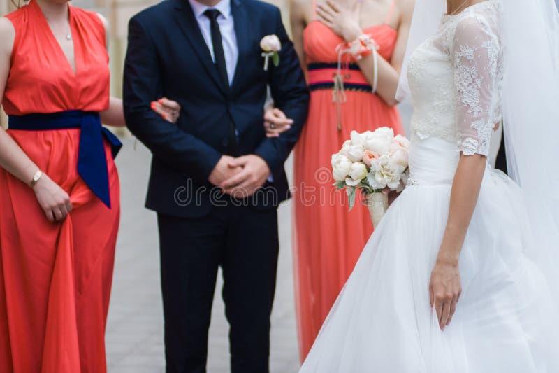 Big wedding bouquet. Before wedding ceremony in church royalty free stock photos
