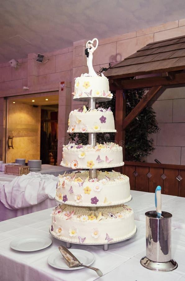 Big wedding cake on the table stock photography